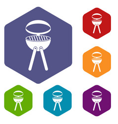 Barbecue grill icons set hexagon vector