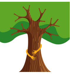 Tree hug for nature love concept vector
