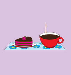 A cup with a hot cocoa drink and a saucer with a vector