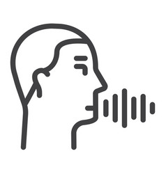 Speech recognition line icon voice control vector