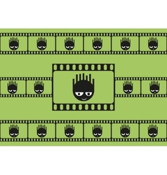 Cute monsters and film strip seamless pattern vector