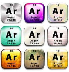 A periodic table button showing argon vector