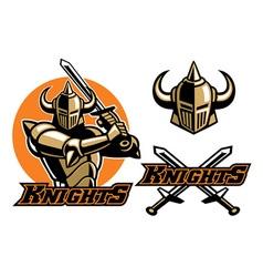 knight mascot swinging the sword vector image