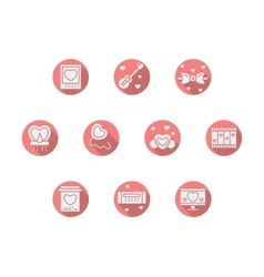Round pink romance icons vector
