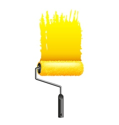Yellow paint roller isolated on white vector