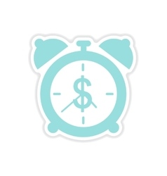 Paper sticker on white background time is money vector
