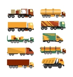 Set of trucks icons isolated on white vector