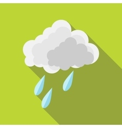 Cloud and rain drops icon in flat style vector