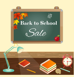 back to school sale concept with school items vector image vector image