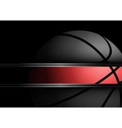 Basketball on black background vector image