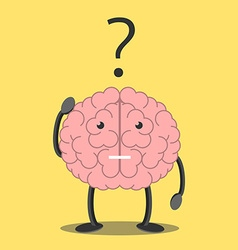 Brain character thinking vector image vector image