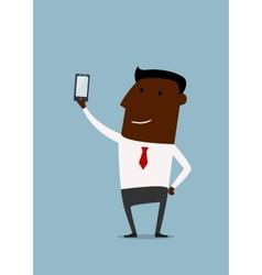 Cartoon african american businessman taking selfie vector image