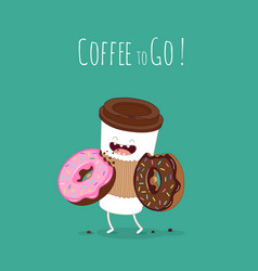 Cartoon comic coffee cup and donut take coffee vector