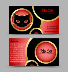 Cat head theme business card vector image