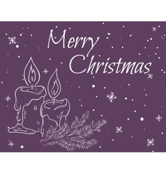 christmas card with outline vector image