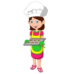 cute mom cartoon with food vector image