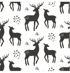 deers seamless pattern vector image vector image