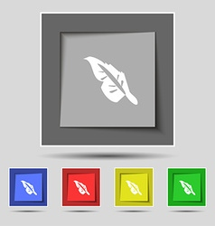 Feather icon sign on original five colored buttons vector