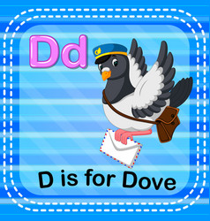 Flashcard letter d is for dove vector