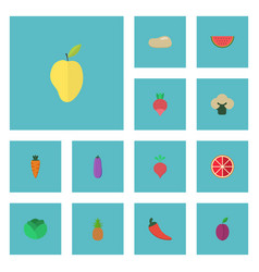 flat icons melon slice apricot mango and other vector image vector image
