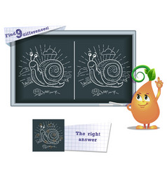 game find 9 differences snail vector image