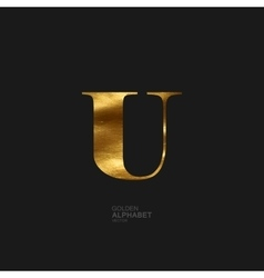 Golden letter u vector