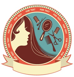 Hair salon background with woman face vector image vector image