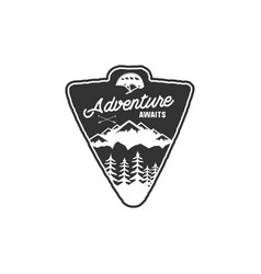 hand drawn vintage camping badge and hiking label vector image vector image