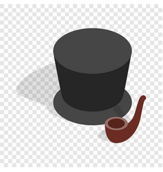 hat and smoking pipe isometric icon vector image vector image