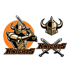 knight mascot swinging the sword vector image vector image