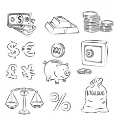 money sketch set vector image vector image