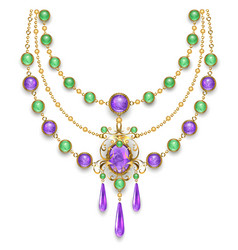 necklace with amethyst vector image vector image