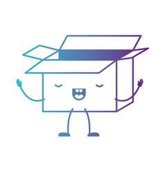Opened kawaii animated cardboard box in degraded vector