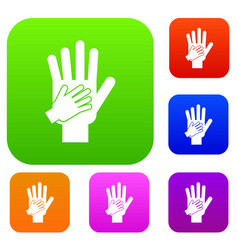 parent and child hands together set collection vector image