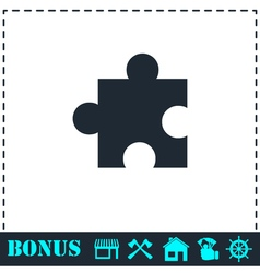 Puzzle piece icon flat vector