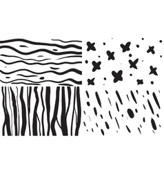 Set of 4 seamless patterns in black and vector image