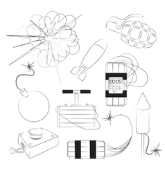 Set of bombs Explosives vector image vector image