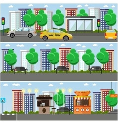Set of street concept design elements flat vector