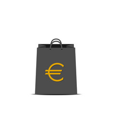 shopping bag with euro sign vector image vector image