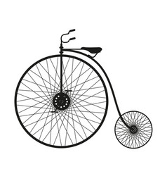 Silhouette of vintage bicycle in black design vector