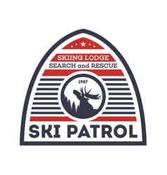 Ski patrol isolated label vector