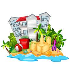 Summer theme with sandcastle on beach vector