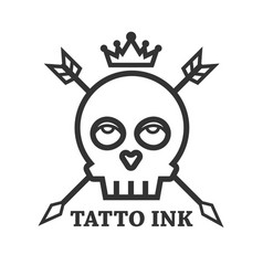 tattoo ink of black skull isolated on white vector image vector image
