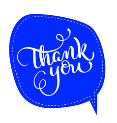 Thank you text on blue tag frame on background vector