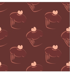 Tile cupcake dark pattern or background wallpaper vector image vector image