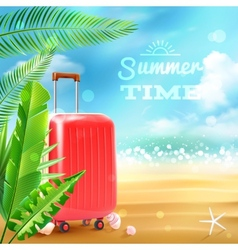 Travel suitcase background vector