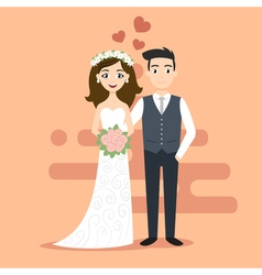 Young happy newlyweds bride and groom just married vector