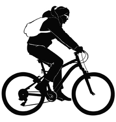 Young woman on a bike trip vector image vector image