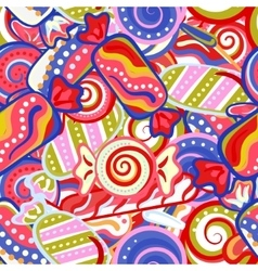 Yummy colorful sweet lollipop candy cane seamless vector image vector image