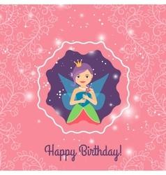Happy Birthday card with cartoon princess vector image